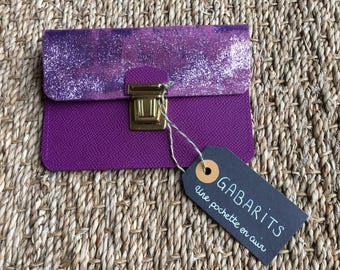 Lilac glitter leather wallet