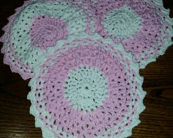 Crochet Dishcloths, 100 percent cotton, handmade, set of 3, pink and white