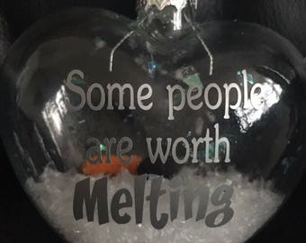 """Disneys Frozen Olaf Inspired """"Some People Are Worth Melting For"""" Glass heart shaped Bauble"""
