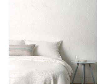 Duvet cover with matching pillow cases queen/king pure white linens,bedding,natural organic cotton