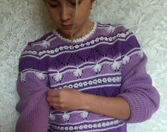 Hand Knitted Women's Sweater, Women's Knitted Sweater, Handmade Sweater, Lilac color,Wool,beautiful pattern, FREE SHIPPING