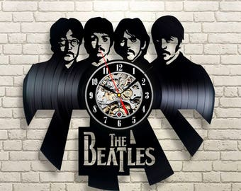 The Beatles, Vinyl Record Wall Clock, John Lennon, Paul McCartney, Home Decor, Wall Decor, Wall Art, New Year Gift, Gift For Rock Lover