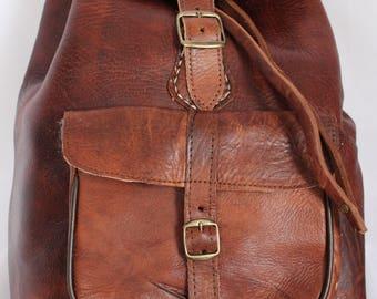 079 Large Vintage Style Real Genuine Leather Bag Rucksack Backpack Brown