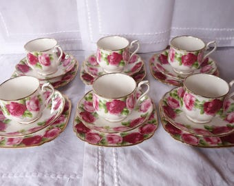 6 Royal Albert Old English Rose Cup, Saucer and Side Plate Sets