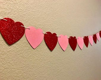 Heart Banner, Red and Pink Glitter Hearts, Valentine's Day, Love, Party Decor, Decorations, Party Supplies, Party Sign, Garland, Streamer