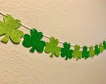 Shamrock Banner, Green, Glitter, Shimmer, St. Patrick's Day, Party Decor, Decorations, Party Supplies, Party Sign, Garland, Streamer
