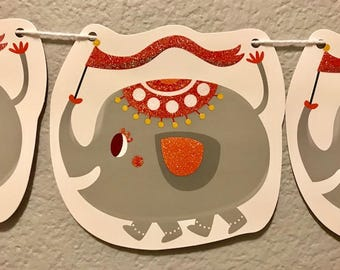 Elephant Banner, Grey, Glitter, Party Decor, Decorations, Party Sign, Garland, Streamer, Baby Shower, Birthday Party, Kid Banner
