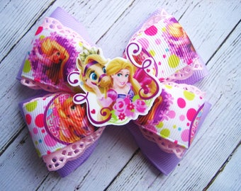 Rapunzel Hair Bow Tangled Birthday Party Tangled Hair Bow Rapunzel Birthday Disney Princess  Rapunzel Dress Rapunzel Hair Clip