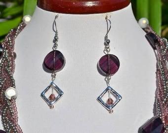 dark purple and silver diamond earrings