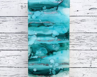 I Remember the Waves, Contemporary Art Painting, Ocean, Silver Leaf, Emotive, Intuitive Painting