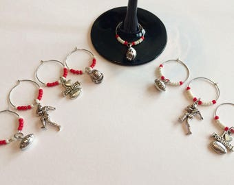 Football Wine Glass Charms
