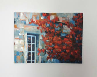 Red Ivy - Original oil painting. Oil on canvas art. Modern art work. Colourful work of art using oil on canvas. Wall art.