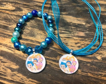 Bubble Guppies party favors.Bubble Guppies bracelet.Bubble guppies pendant necklace.Bubble guppies Birthday party.Bubble guppies gift set