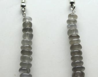 "Natural Gray Moonstone Round Beads Earrings. 1.3"" Inches Long , Size- 5 to 6 MM Approx Code-02"