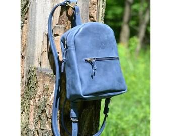 Mini backpack/blue backpack/womens backpack/minimalist backpack/city backpack/everyday backpack/handmade backpack/gift for her/stylish