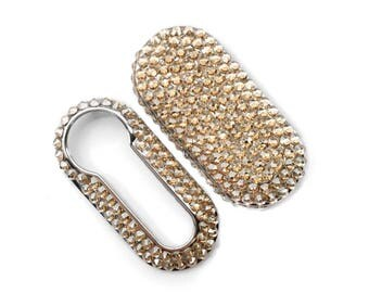 Swarovski® Crystal encrusted Fiat 500 key cover case fob Golden Shadow girly car accessories