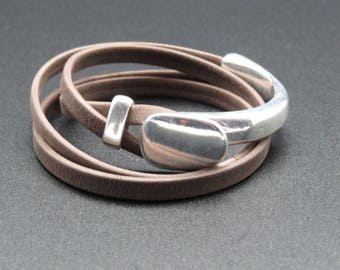 Bracelet leather half Bangle Mahe