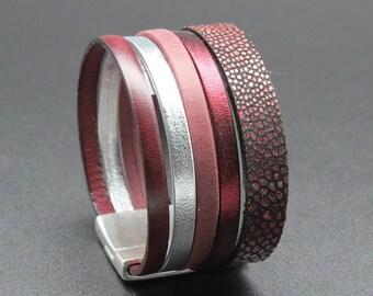 Clio bordeaux leather cuff