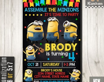 Minion Invitation, Minion Birthday, Minion Party, Minion Birthday Invitation, Minion Printable, Minions Birthday Party, Minion Invite