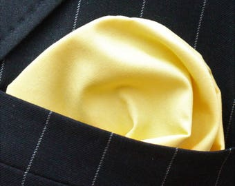 Hankie Pocket Square Handkerchief Yellow - Premium Cotton - UK Made