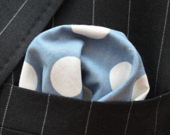 Hankie Pocket Square Handkerchief Denim Blue Polka Dot Premium Cotton - UK Made