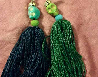 Green and blue sugar skull tassel earrings