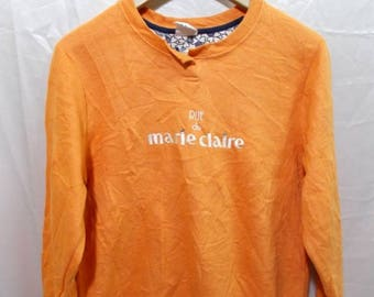 15% Offer..!!! Rue De Marie Claire Spell Out Big Logo Orange Sweatshirts