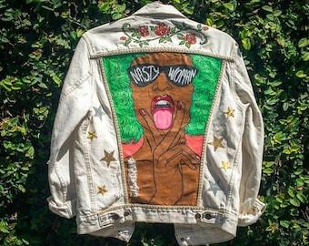 Hand Painted Nasty Woman Denim Jacket