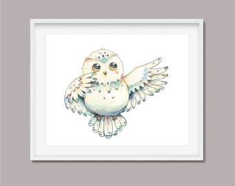 Snowy Owl Wall Art Print - White Owl - Nursery Decor - Animal Print, Wall Decor, Owlet Nursery Arctic Animals 8x10 / 11x14 / 13x19