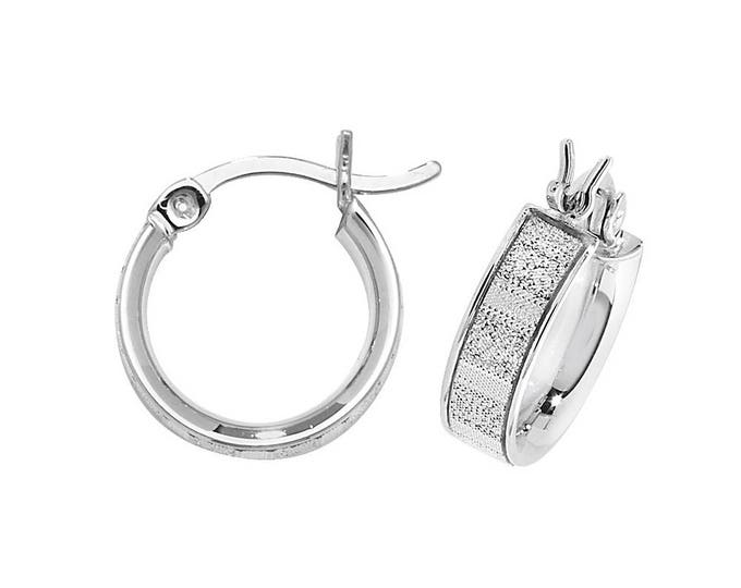 925 Sterling Silver Sparkly Stardust Striped Hoop Earrings - Choice of sizes