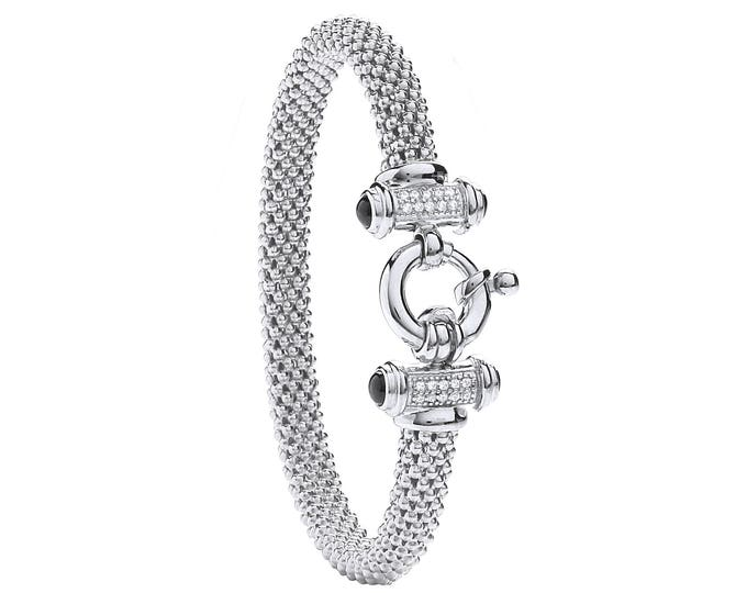 Sterling Silver Popcorn Mesh Bangle With Centre Cz Bolt Ring - Rose Gold or Silver