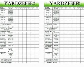 Yardzeeee Score Card