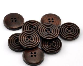 5 buttons wood dark brown 20mm