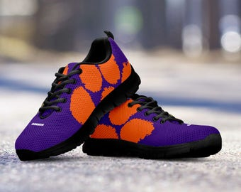 Clemson Tigers Football Fan Custom Running Black Shoes/Sneakers/Trainers - Ladies + Mens Sizes fan, collector, gift