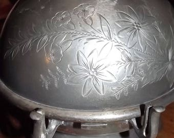 Antique Silver Butter Bowl/Dome
