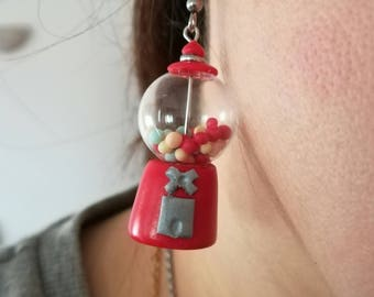 Fimo Candy distributor Earrings and glass boules