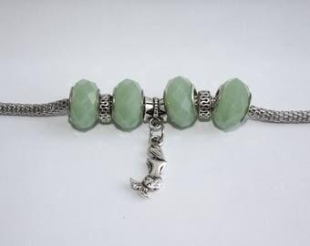 Mermaid Charm Bracelet - Mermaid Jewelry - Mermaid Charm - Mermaid Gifts - Mermaid Bracelet - Green Bracelet - Sterling Silver Bracelet
