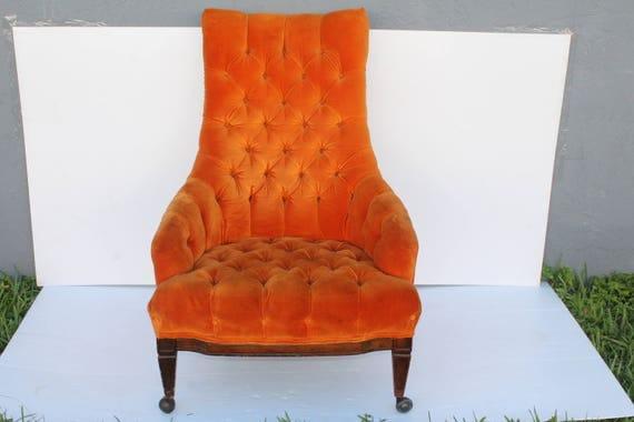 Mid Century Modern Orange Velvet Tufted Chair