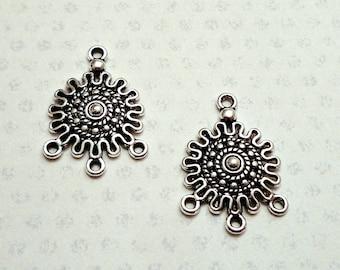 Lot 2 connectors / pendants Inca Sun / ethnic - Tibetan silver