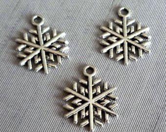Set of 5 charms Christmas snowflakes - silver - 15x20mm