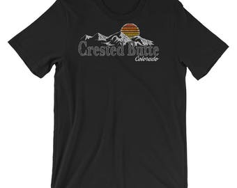 Retro Crested Butte Colorado Mountain Sunset Tshirt