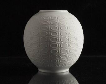 Op Art Royal KPM Bavaria Bisque Porcelain Vase Form 614 Handmade West German Vintage