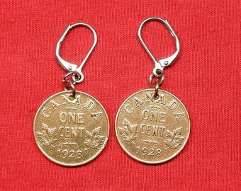 1928 real Canadian coaster from 1928 earrings