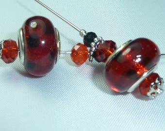 "Murano style ""red polka dots"" bead Kit"