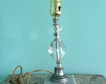 Vintage Lucite & Marble Table Lamp