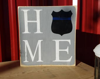 Police Officer home - Thin Blue Line - Rustic Decor  - Farmhouse Decor  - Country Decor  - Rustic wood sign  - home sign  - police -  wood