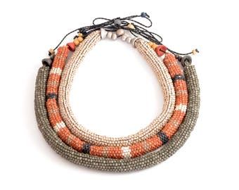 Ceramic Beaded Tube Necklaces