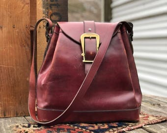 1960's 1970's Etienne Aigner Burgundy Oxblood Leather Bag