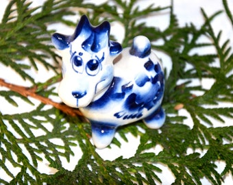 "Gzhel Russian Porcelain Figurine,Porcelain figurine ""COW"", Gzhel hand made,Hand painted Souvenirs,Ceramic figurine,Home Decor,Collectible,"