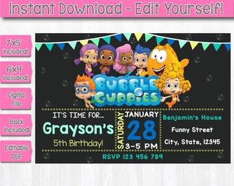 Instant Download Bubble Guppies Invitation, Editable Bubble Guppies Invitation, Bubble Guppies Birthday, Bubble Guppies Editable PDF